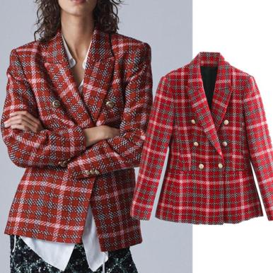 Vintage Plaid Double Breasted Tweed Party Blazer
