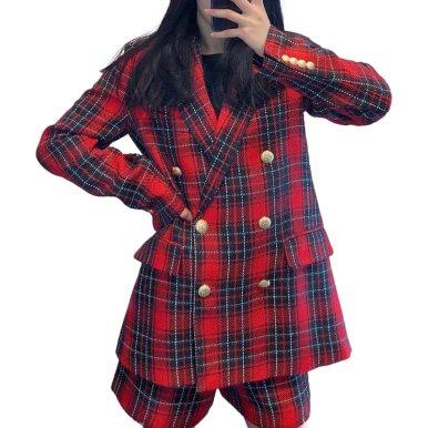 Elegant Office Suit Red Tweed Plaid Blazer