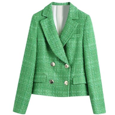 Simple Green Plaid Double-Breasted Fitted Blazers