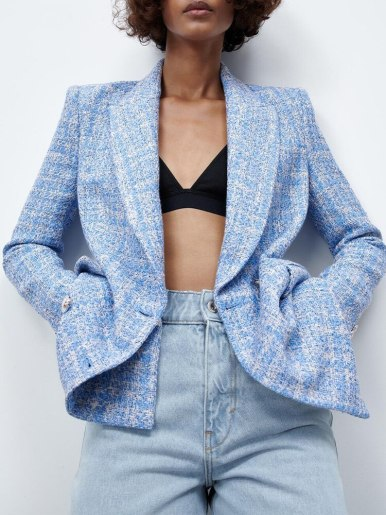 Official Suit Sequin Double Row Button V-Neck Jacket