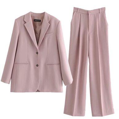 Blazers Suit Pink Two Piece Jacket Set