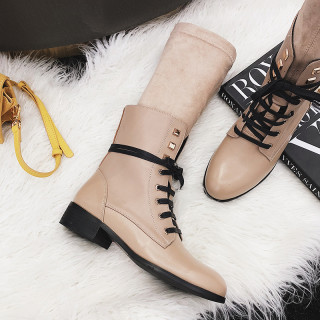 Japanese and Korean version of the school style solid color women shoes round head with retractable buckle women short boots style hot style Martin shoes size 43