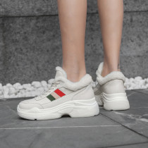 Fashion add wool upset women's shoes in winter 2019 cross lacing concise mature comfortable leisure leather white black
