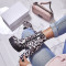 Fashion comfortable women's shoes spring autumn 2019 round toe chunky heels 12cm zipper boots leopard print ankle boots new