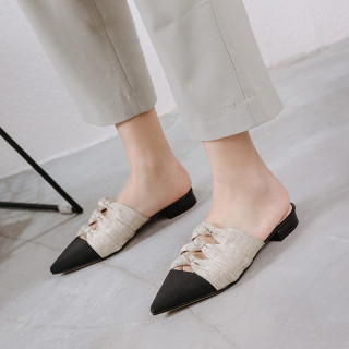 Summer 2019 fashion trend women's shoes pointed toe elegant slippers mules gray comfortable office lady ladylike temperament