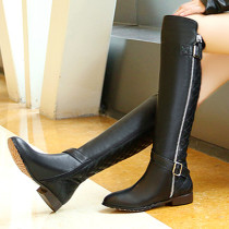 Arden Furtado fashion women's shoes in winter 2019 buckle flat boots over the knee high boots zipper big size 40 women's boots