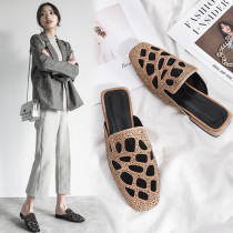 Arden Furtado summer 2019 fashion trend women's shoes pointed toe  brown pure color slippers mules ladylike temperament narrow band