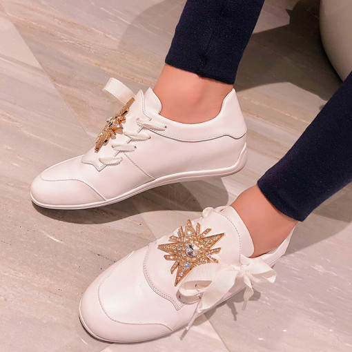 Arden Furtado summer 2019 fashion trend women's shoes white cross lacing concise classics leisure metal decoration