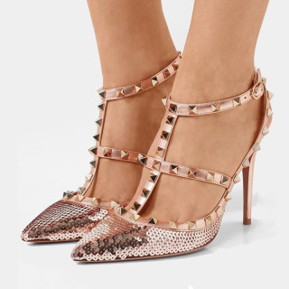 summer 2019 fashion trend women's shoes pointed toe stilettos heels pure color sandals buckle rivet bling