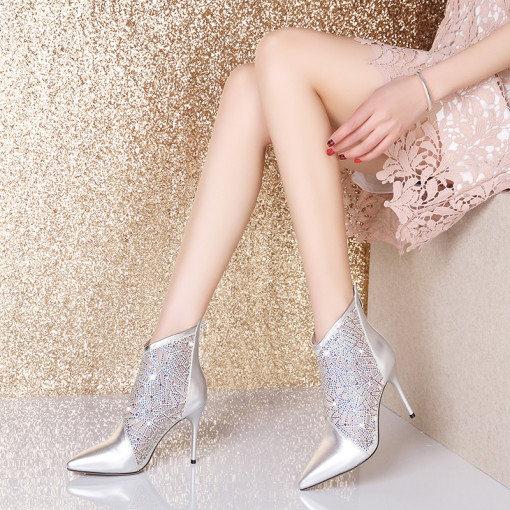 Arden Furtado Summer Fashion Trend Women's Shoes Pointed Toe Stilettos Heels Zipper Booties  Short Boots Elegant Sexy Elegant Pure Color Office lady