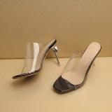 Arden Furtado Summer Fashion Trend Women's Shoes Stilettos Heels  red Concise PVC Slippers Sexy Elegant Classics Big size 48