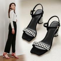 Arden Furtado Summer Fashion Trend Women's Shoes Classics pure color Crystal Rhinestone Buckle Narrow Band Sandals  Big size 42