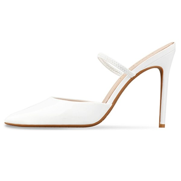 Arden Furtado Summer Fashion Trend Women's Shoes pure color white Sexy Elegant Pointed Toe Stilettos Heels Slippers Mules