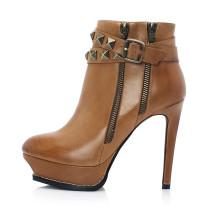 Arden Furtado Fashion Women's Shoes Winter Pointed Toe Rivet Stilettos Heels Zipper Sexy Elegant brown Ladies Boots Short Boots