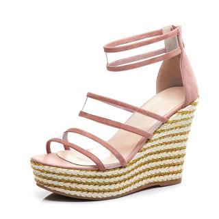 Arden Furtado Summer Fashion Women's Shoes pink Concise pvc wedges Sandals