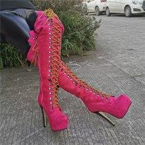 Arden Furtado Fashion Women's Shoes Winter Round Toe Stilettos Heels Zipper Elegant pure color Platform purple Thigh High Boots