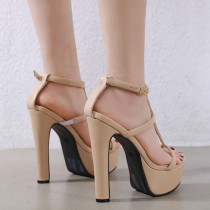 Chunky heels Platform sandals Open toe fashion shoes Extreme heels 15cm Party shoes