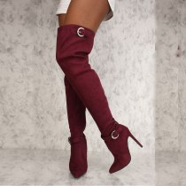 Arden Furtado Fashion Women's Shoes Winter Mature pure color Pointed Toe Stilettos Heels pink burgundy Thigh High Boots