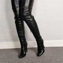 Arden Furtado Fashion Women's Shoes Winter Pointed Toe Stilettos Heels Zipper Sexy Elegant Ladies Boots Concise Thigh High Boots