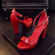 Arden Furtado Summer Fashion Trend Women's Shoes Concise Leather Waterproof Buckle pure color red Sandals Party Shoes