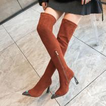 Arden Furtado Fashion Women's Shoes Winter Pointed Toe pure color brown Stilettos Heels Zipper Sexy Elegant Ladies Boots