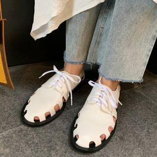Arden Furtado Summer Fashion Trend Women's Shoes pure color White Sandals Cross Lacing  Leather Comfortable Leisure Shallow