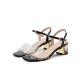 Arden Furtado Summer Fashion Trend Women's Shoe Elegant  PVC Classics Sandals Narrow Band Buckle Chunky Heels Big size 43