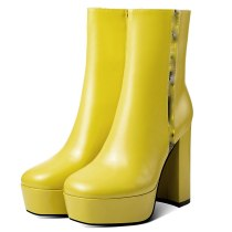 Arden Furtado Fashion Women's Shoes Winter Classics Sexy Elegant Ladies Boots yellow platform Boots