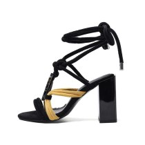 Arden Furtado Summer Fashion Women's Shoes Novelty Narrow Band Chunky Heels Sandals Ankle Strap shoes Big size 43