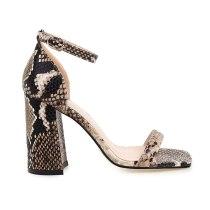 Arden Furtado Summer Fashion Women's Shoes Classics Narrow Band Classics Party Shoes Chunky Heels Sexy Elegant snakeskin shoes