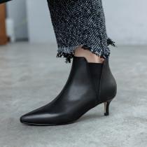 Arden Furtado Fashion Women's Shoes Winter Pointed Toe Stilettos Heels  Sexy Elegant Ladies Boots pure color Slip-on Short Boots