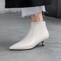 Arden Furtado Fashion Women's Shoes Winter Pointed Toe beige pure color Stilettos Heels  Sexy Elegant Ladies Boots Short Boots