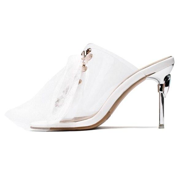 Arden Furtado Summer Fashion Women's Shoes Sexy Concise pvc Elegant Slippers Classics crystal rhinestone heels