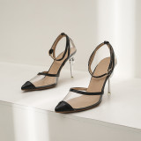 Arden Furtado Summer Fashion Trend Women's Shoes Pointed Toe Stilettos Heels Sexy PVC Sandals Elegant Party Shoes  Big size 48
