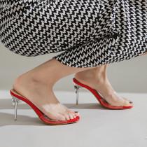 Arden Furtado Summer Fashion Trend Women's Shoes Sexy Elegant Classics Classics Elegant Concise PVC Slippers red  Big size 48