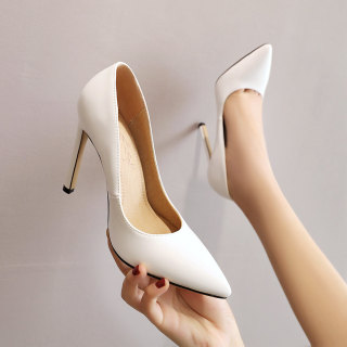 Arden Furtado Summer Fashion Women's Shoes Slip-on Pointed Toe Stilettos Heels pure color Sexy Elegant white pumps small size shoes