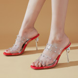 Arden Furtado Summer Fashion Trend Women's Shoes red white sexy Classics Stilettos Heels Sexy Elegant pure color PVC Slippers