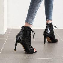 Arden Furtado Summer Fashion Women's Shoes Classics Peep Toe lace boots Cross Lacing ankle Boots