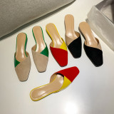 Arden Furtado Summer Fashion Trend Women's Shoes yellow Mixed Colors Mules Pointed Toe Stilettos Heels Sexy Elegant Slippers