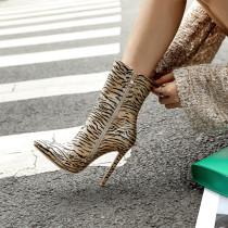 Arden Furtado Fashion Women's Shoes Winter Pointed Toe Ankle Boots sexy Stilettos Heels Zipper Sexy Elegant Ladies leopard Boots
