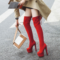 Arden Furtado Fashion Women's Shoes Winter Pointed Toe Chunky Heels Sexy Ladies Boots red Thigh High Boots