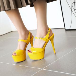 Arden Furtado Summer Fashion Women's Shoes silver green platform Buckle strap yellow sandals Sexy Elegant Stilettos Heels Sandals
