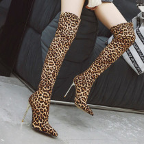 Arden Furtado Fashion Women's Shoes Winter Pointed Toe silver Slip-on Over The Knee High Boots Stilettos Heels leopard shoes