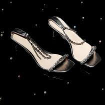 Arden Furtado Summer Fashion Women's Shoes  Narrow Band Chunky Heels Sexy Elegant  silver rhinestone Sandals