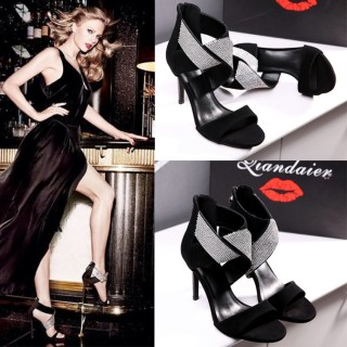 Stilettos heels open toe Fashion sandals Crystal rhinestone Party shoes big size 42