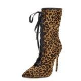 Arden Furtado Fashion Women's Shoes Winter Pointed Toe Stilettos Heels Cross Lacing  Elegant Ladies Boots Concise pure color