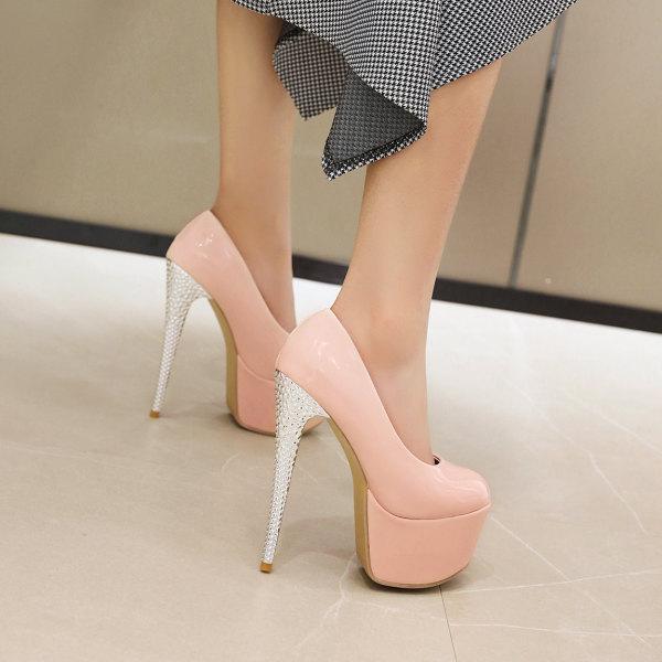 Arden Furtado Summer Fashion Women's Shoes sexy Pointed Toe Stilettos Heels Slip-on pink white Pumps extreme heels platform shoes