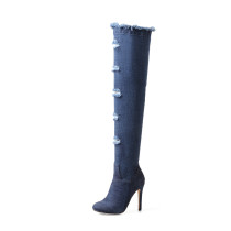 Arden Furtado Fashion Women's Shoes Winter pure color Sexy Elegant Ladies Boots stilettos boots Over The Knee High Boots Denim Big size 43