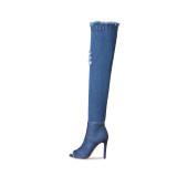 Arden Furtado Summer Fashion Trend Women's Shoes flowers  Sexy Elegant Ladies Boots Denim Concise pure color pure color Office lady