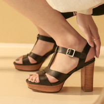 Summer fashion women's shoes peep toe chunky heels buckle strap genuine leather gladiator sandals